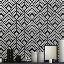 art deco stencil diamonds wallpaper stencil design wall living room