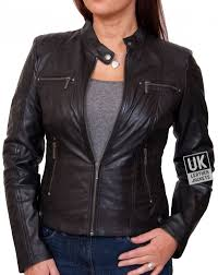 womens black leather biker jacket jasmine front