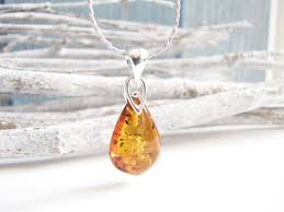 tear drop amber pendant necklace baltic