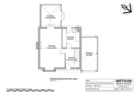 Existing floor plan before garage conversion and extension design plans