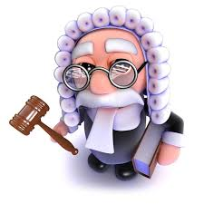 3d funny cartoon judge holding a gavel and law book stock ilration ilration of