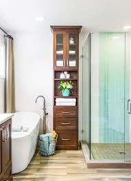 tall tower linen cabinet with narrow wood style also limited space ideas and glass shower space and wire basket storage for towel organizer ideas and wooden