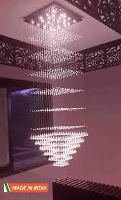 square shape big size crystal hanging indian chandelier