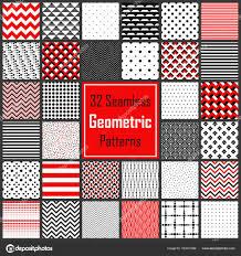 Geometrische Zwart Wit Rood Patronen Set Stockvector Amovitania