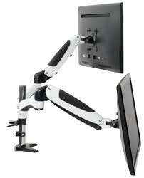 vivo white dual monitor counterbalance height adjule arm desk mount stand two 15 to 27