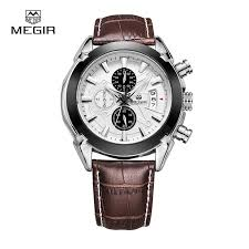 online buy whole mens watches style from mens watches megir watch mens watches top brand fashion leather sports quartz watch for man military chronograph wrist