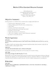 Administrative Assistant Objective Statement Simple Sample Medical Office Assistant Resume Bire44andwap