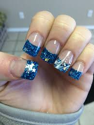 Blue Glitter Nail Designs Blue Glitter Tip Nails With Silver Stars With White And