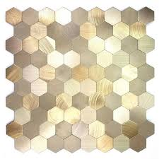 abolos mosaic 1 in x 1 in hexagon gold brushed aluminum l stick