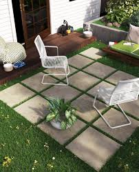 patio stones. Outdoor Patio, Sitting Area With Porcelain Patio Stones That Look Like Travertine But Do Not T