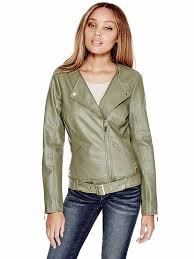 details about guess womens olive green snake skin faux leather belted moto jacket s new