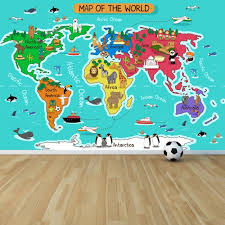 cartoon animal world map wall mural map wallpaper kids bedroom photo home decor