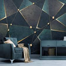 Cool idea for creating an accent wall in. Self Adhesive Wallpaper Modern Creative 3d Geometric Lines Golden Abstract Waterproof Canvas Photo Murals Living Room 3d Sticker Wallpapers Aliexpress Wall Painting Living Room Geometric Wall Paint Bedroom Wall Paint