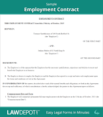 employment contract sample business agreement sample letter