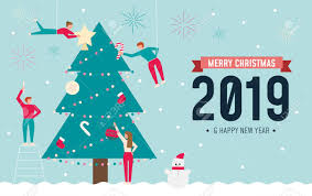 Christmas Design Template Flat Christmas Design Template For 2019 With Small People And