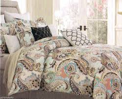 king paisley aqua lime green blue brown peach 6 comforter set and duvet cover bedding sets cream
