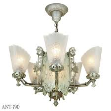 art deco antique chandelier with cut glass center 5 arm ceiling light ant 790 for