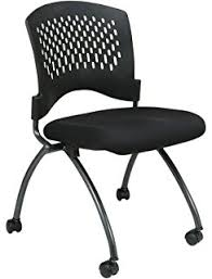 folding office chair. office star deluxe ventilated plastic back freeflex coal seat armless folding chair with casters 2