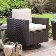 fabulous biloxi 3pc outdoor wicker glider feat two swivel glider chairs with upholstered creamy cushions seat