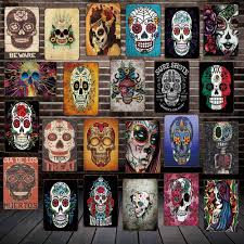 Mike86 Sugar Skull Mexican Style Metal Tin Sign Tattoo Parlors Shop Decor Party Vintage Poster Antique Iron Painting Fg 207