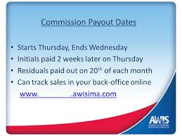 track sales online commission payout dates starts thursday ends wednesday initials