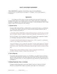 Investment Agreement Templates Business Investment Contract Template Free Equity Share Agreement