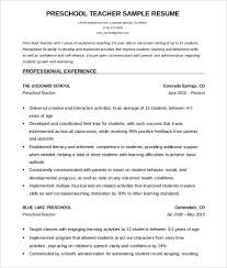 How To Write A Resume For Preschool Teachers Resume Examples For Pr
