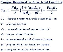 Square Thread Chart In Mm Torque Required To Raise Load Calculator