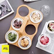 Khay tre đựng mứt tết bánh kẹo gồm 6 hũ sứ kèm chụp thủy tinh mini phong  cách Nhật Bản giá cạnh tranh