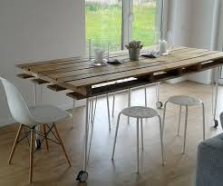 furniture: Charming White Dining Stools On Wooden Flooring Combined With  Mesmerizing Pallet Funiture Created At