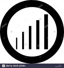 Growth Chart Icon Black Color In Circle Round Vector I Stock