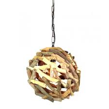 driftwood ball pendant chandelier ceiling mounted light fixture nautical rustic lodge feel