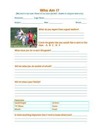 Personal Information Sheets Who Am I Personal Information Sheet Survey Homeroom Cumulative