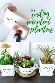 Your succulents will shine in these Smiling DIY Succulent Planters from  @craftingchicks. So simple