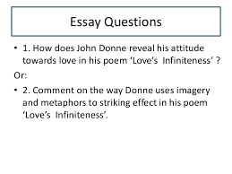 lovers infiniteness essay questions • 1 how does john donne