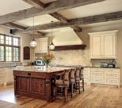 Interesting Rustic White Kitchen Ideas with Brown Cabinet and Granite  Countertop