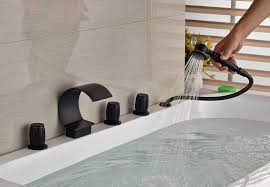 image of tub faucet with handheld shower kit