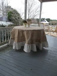 90 ruffled burlap tablecloth french country handmade ruffed tablecloth round floor length wedding decor table settings 2553166 weddbook