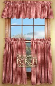 cottage red check curtain valances