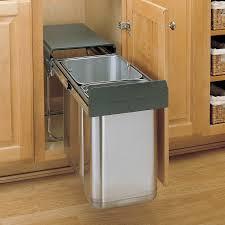 Kitchen Waste Bin Door Mounted Rev A Shelf Premium Double Pull Out Trash Bin System 30 Liter Ss