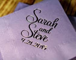 Personalized cocktail wedding napkins