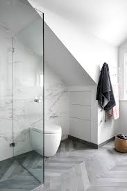 sydney vallelunga calacatta tile bathroom contemporary with open shower curtains wall mounted toilet