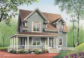 House plan W detail from DrummondHousePlans com    front   BASE MODEL to bedroom Farmhouse  wraparound porch  home office