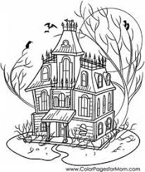 Small Picture Haunted house coloring page Clipart Digi Stamps Color Pages