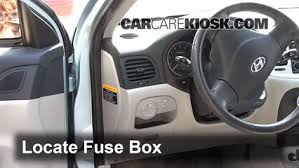 interior fuse box location 2006 2011 hyundai accent 2007 Hyudnai Sonata Fuse Box Intrnal locate interior fuse box and remove cover