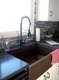 concrete countertops with copper sink
