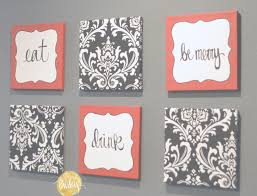 kitchen theme decor sets modern red and black damask eat drink be merry chef wall decor set