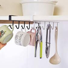 details about 6 hooks cup iron holder hang kitchen bathroom home storage rack organizer