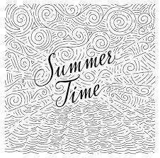 夏海と空の抽象的な背景に手書き句が黒と白の落書き ストック