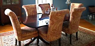 quality dining room chairs however the fabric is now outdated and these chairs are ready